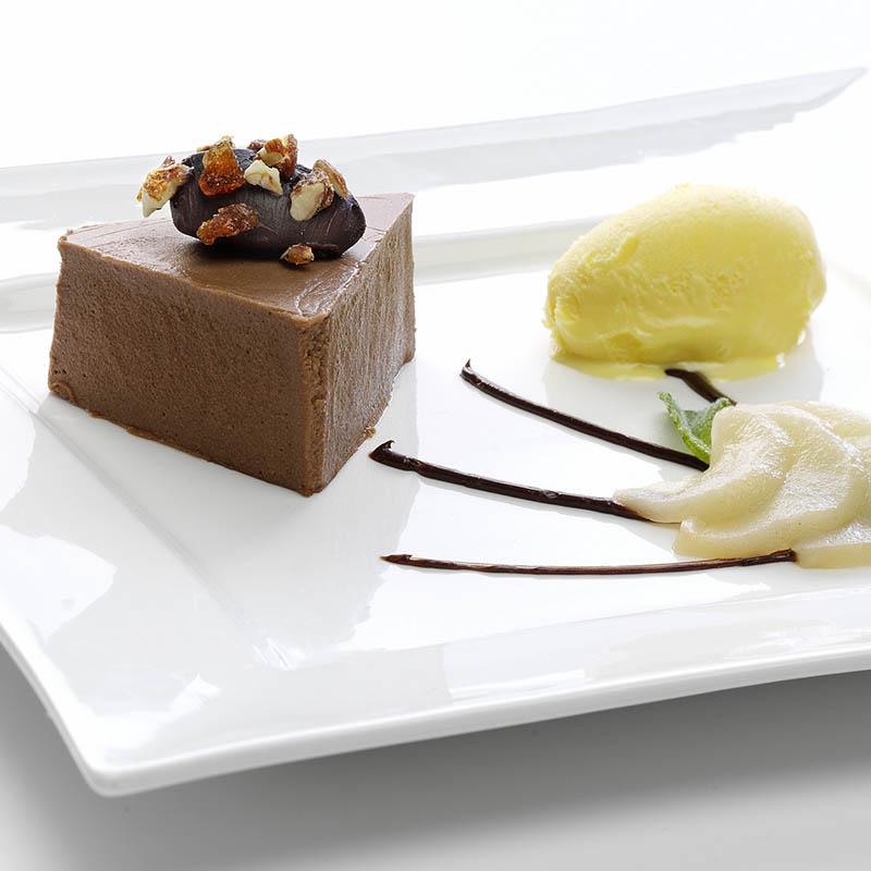 Muselina de peras con chocolate