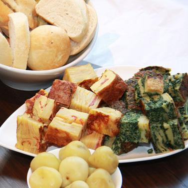 Tortilla a la Española y Frittata de Jamón y Espinacas